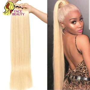 Image 2 - Facebeauty 613 Blonde 1/3/4 Brasilianische Haar Bündel Gerade Webart Remy Menschenhaar Schuss 26 28 30 32 34 36 38 40 zoll Freies Verschiffen