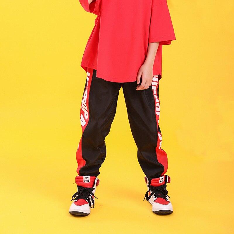 Детская одежда в стиле хип-хоп свободная футболка большого размера повседневные штаны для девочек и мальчиков, одежда для джазовых танцев костюмы, одежда для бальных танцев - Color: black pants