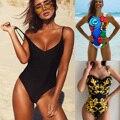2020 сексуальный цельный купальник, женский купальник, Женский однотонный черный купальник-монокини с открытой спиной, купальный костюм XL