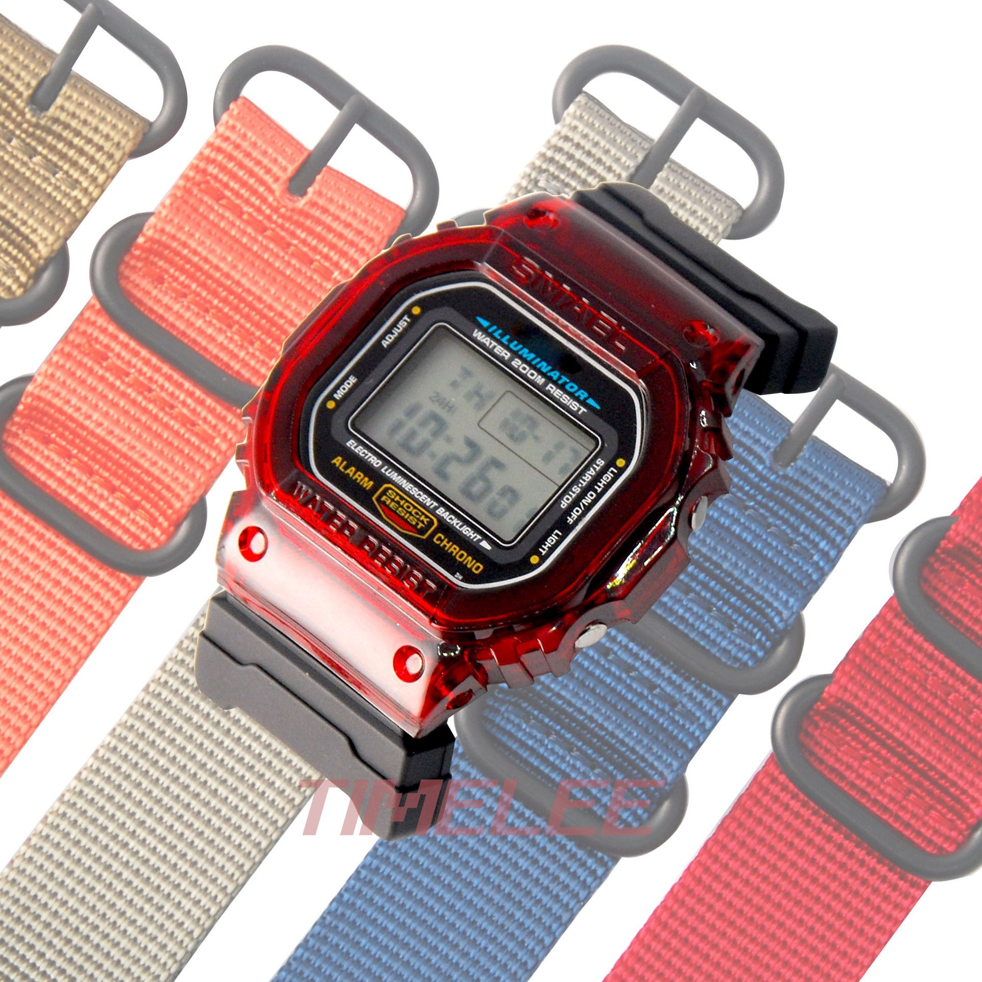 Set of terminals Replacement for casio <font><b>DW</b></font>-<font><b>5600</b></font> 6900 M5610 series + Nylon <font><b>strap</b></font> watchbands image