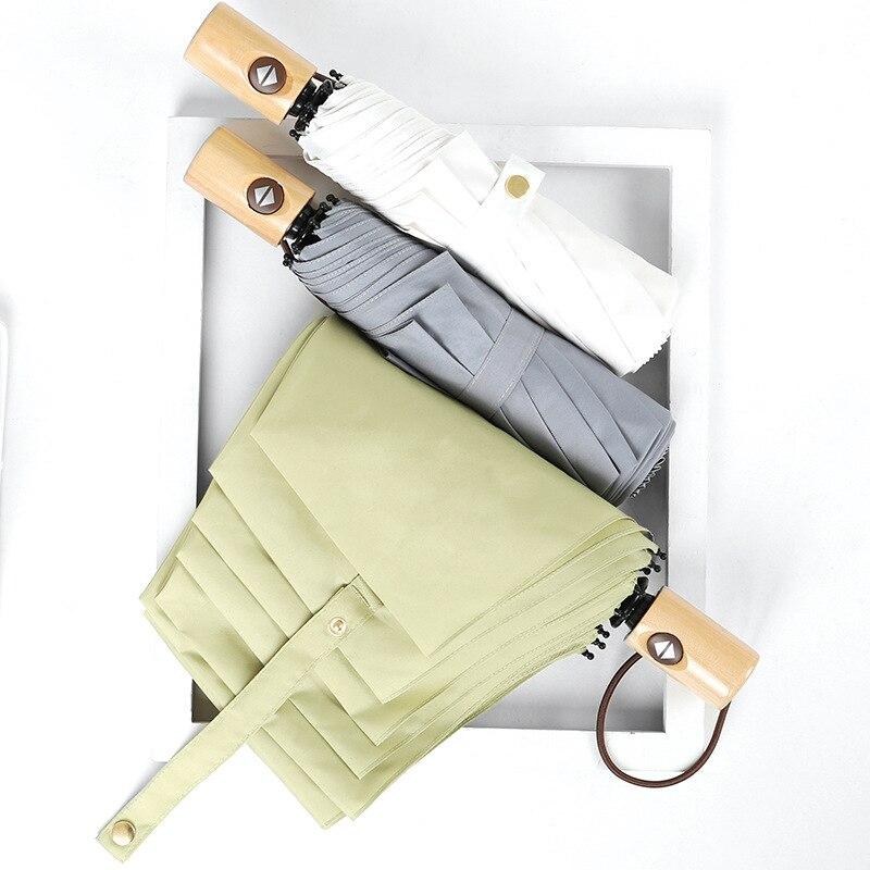 Creative Three-fold Umbrella Fully Automatic Umbrella Wooden Solid Color Self-opening Umbrella Folding Umbrella Advertising Umbr