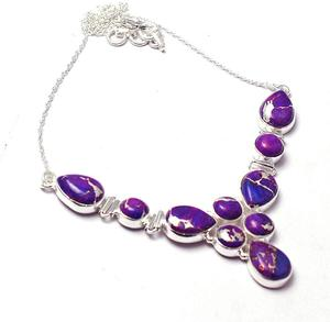 Подлинное фиолетовое медное бирюзовое ожерелье из стерлингового серебра 925 пробы, 49 см, 2SN0081