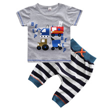 Toddler Baby Boy Summer Clothes Set Fashion Cotton Cartoon Car T-shirt+Shorts 2pcs Children Clothing Boys Sports Suit 1-5 Years 2018 summer children clothing baby boy fashion cotton sleeveless star print top denim shorts baby boys clothing suit 2pcs s2