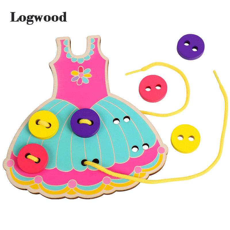Montessori Education Toy Wear Buttons Game Wooden Toys Threading Board Basic Life Skill Hand-eye Coordination Practice Training