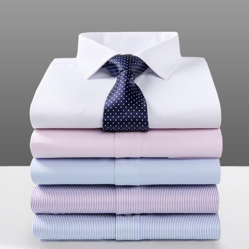 Formal Shirts For Men Summer Slim Fit Short Sleeve Mens Shirt Korean Fashion Clothing Anti-wrinkle Smart Business Dress Shirts