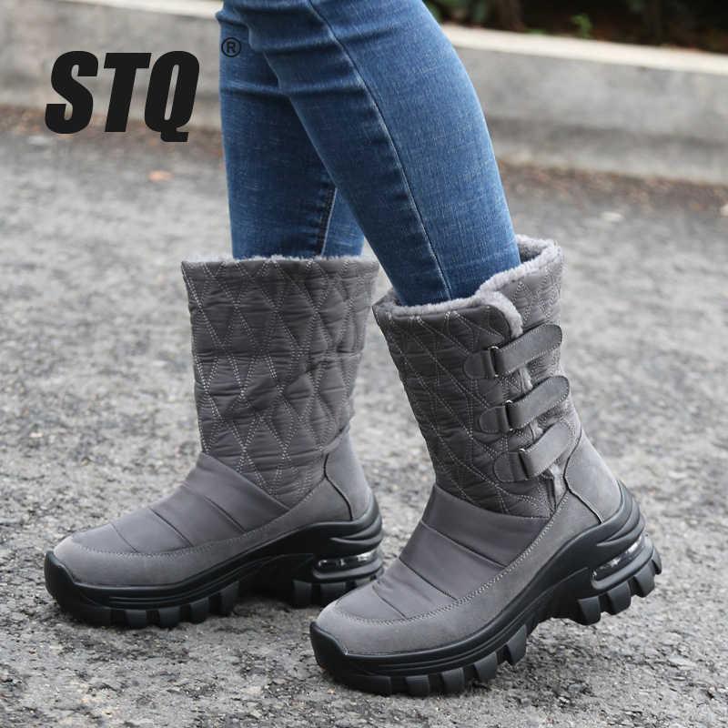 STQ 2019 kadın kış takozlar kar botları ayakkabı bayanlar peluş Med buzağı çizmeler kadınlar sıcak kaymaz su geçirmez kar botları ZJW2056