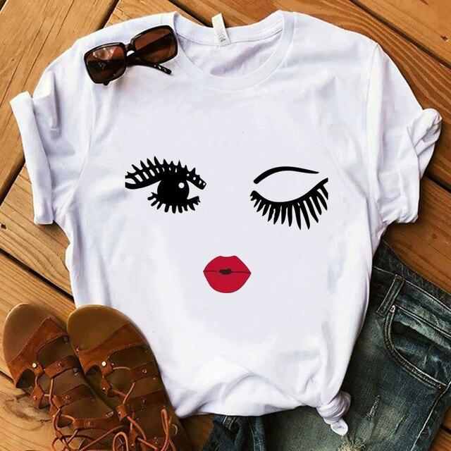 Vogue Blink mujer camiseta maquillaje labial Seaside T verano señora Streetwear bolsa de lujo camisetas