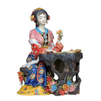 Fine Ceramic Red Mansion Dream Figure Jinling Twelve Puppets Statue Glaze Pottery Sculpture Art For Home Decoration A1189