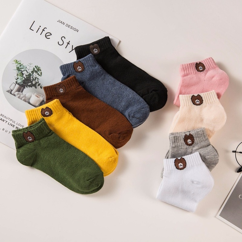 Cartoon Candy Color Bear Sock Slippers Female Shallow Mouth Cute Sweet Breathable Fashion Casual Socks Women 2020 Spring
