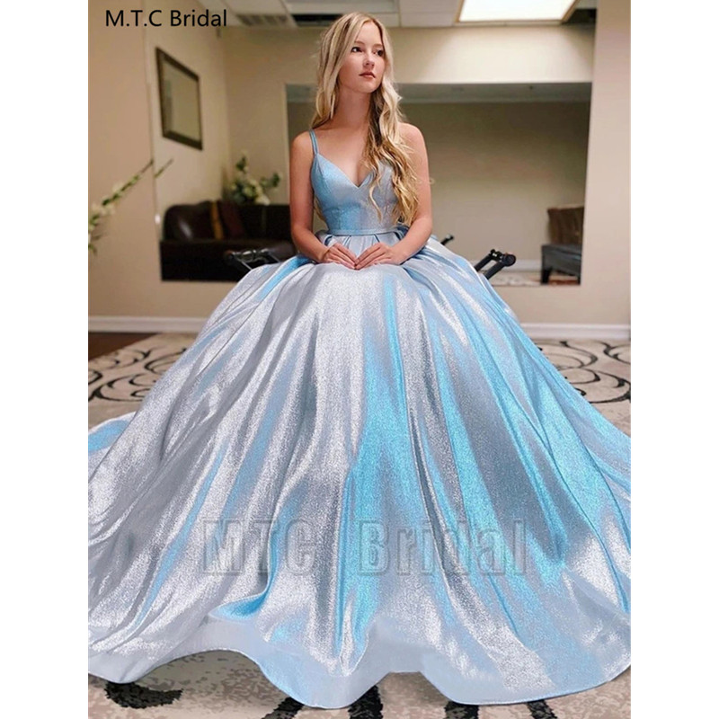 Shiny Long Evening Dress Sexy Sweetheart A Line Girl Graduation Prom Gowns Plus Size Wedding Party Dresses Robe De Soiree
