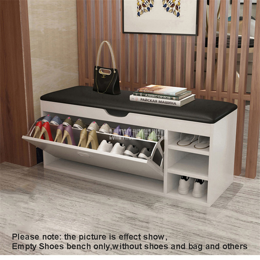Europe Modern Change Shoes Bench Flip Door Wood Soft PU Leather Seat 12-14 Pairs Shoe Storage Cabinet Organizer Home Furniture