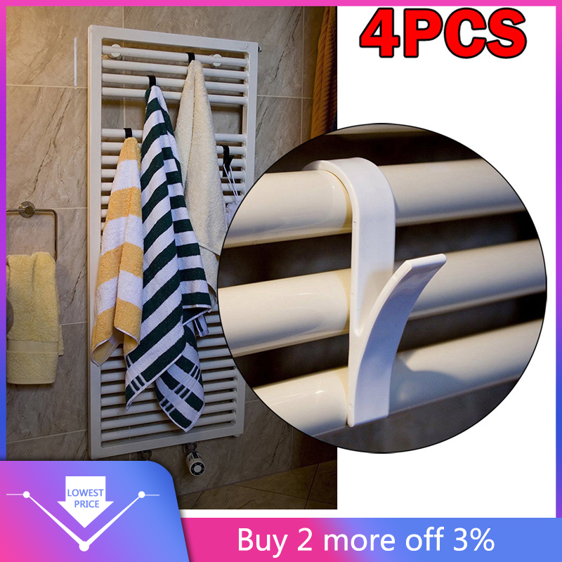 4pcs High Quality Hanger For Heated Towel Radiator Rail Bath Hook Holder Household Accessories 2019 New Arrivals Best Selling(China)