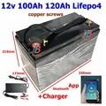 Lifepo4 12V 100Ah 120Ah 12,8 v LFP батарея 100A BMS 150Ah bluetooth приложение для 1200w солнечной системы мотор домашняя Лодка RV + 10A зарядное устройство