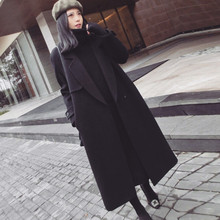 Casaco feminino Великобритания женские большие размеры Осень Зима Cassic простые шерстяные длинное пальто Макси женский халат Верхняя одежда manteau femme