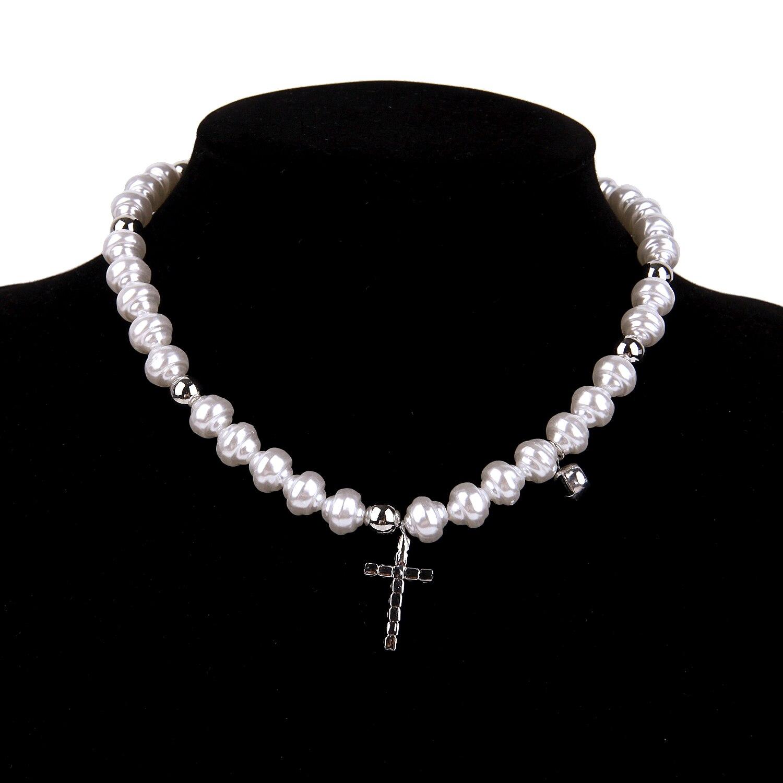 Hip Hop Bohemia Imitation Irregular Pearls Crystal Cross Chokers Chain Metal Beads Line Chain Necklace for Women Men Jewelry