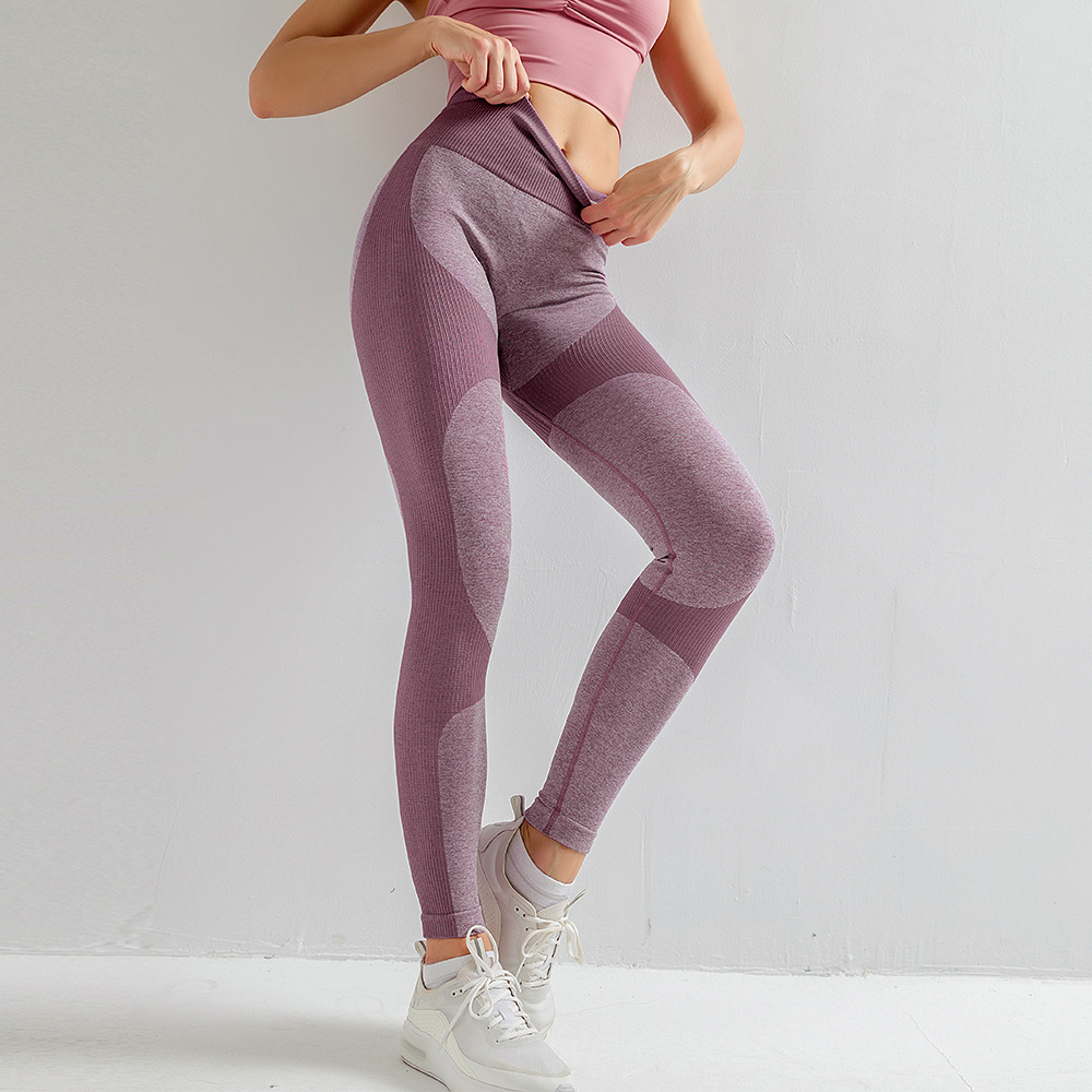 Europe And America Cross Border-High-waisted Tight-Fit Athletic Pants Knitted Seamless Breathable Belly Holding Yoga Fitness Tro