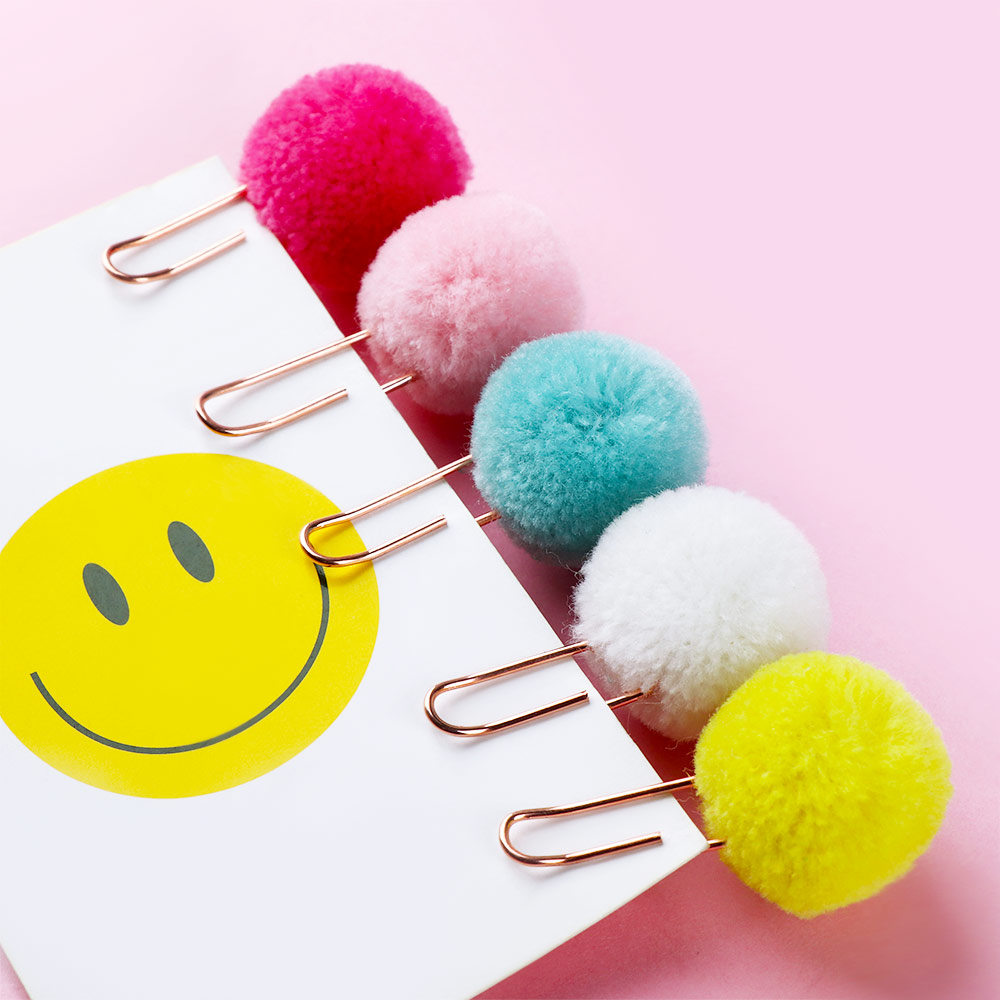 Cute Candy Color Balls Paperclips Creative Metal Color Bookmarks Paperclips Page Clips 4 Colors Hot Sale