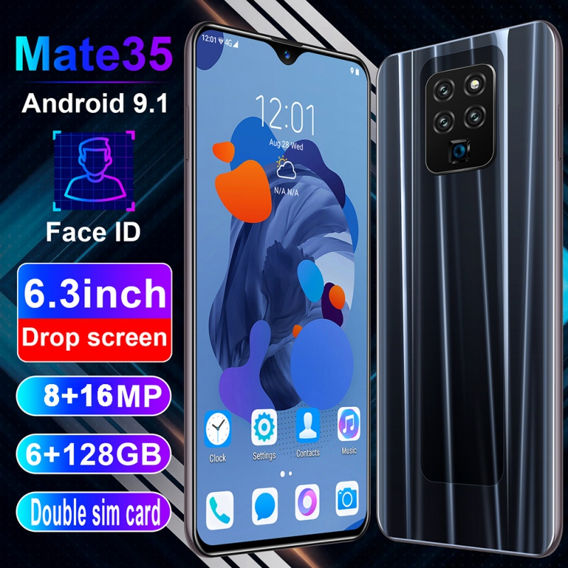 Mate35 6.3 Inch 4G Smartphone 6GB RAM 128GB ROM Water Drop Screen Mobile Phone Fingerprint & Face Recognition Unlock Cell Phone