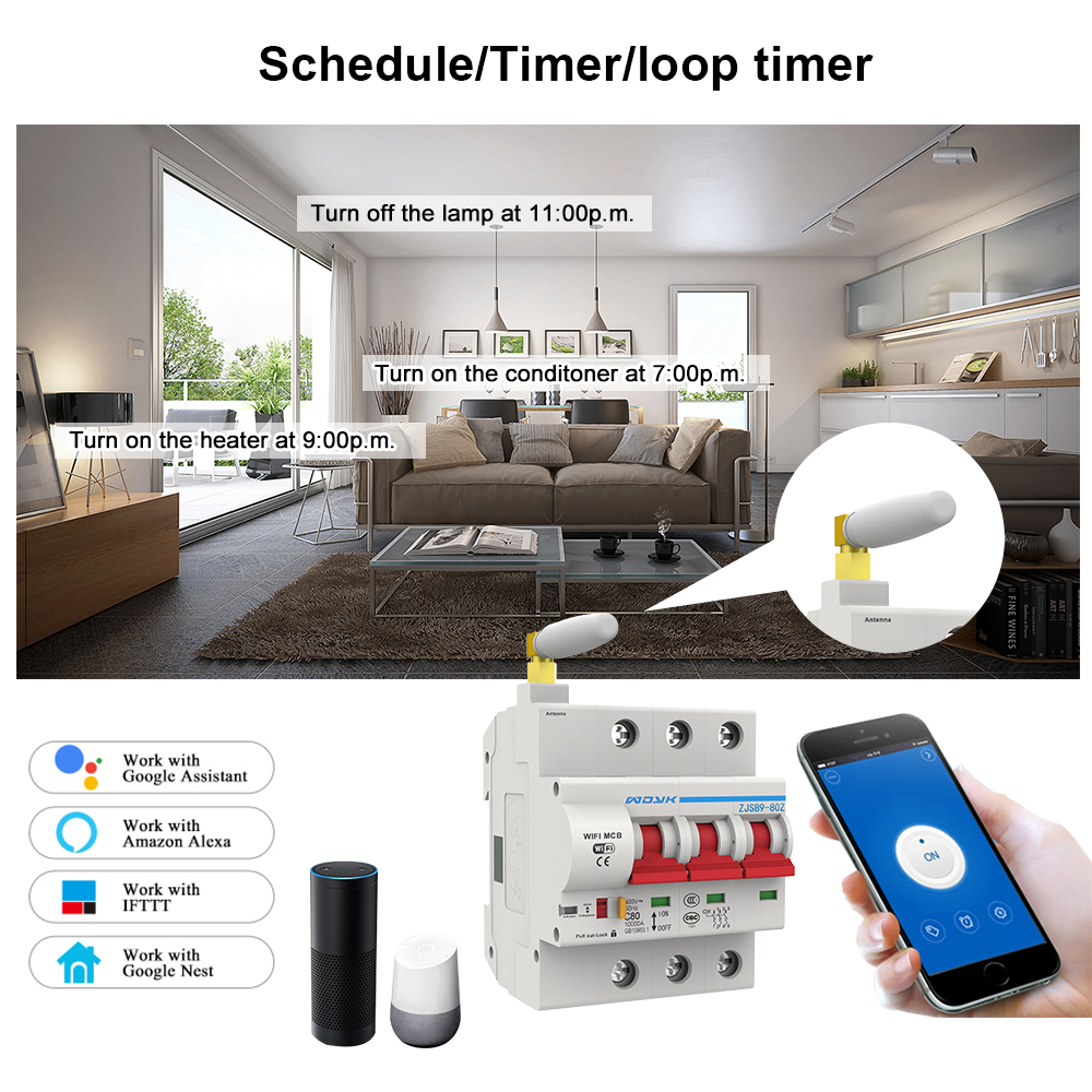 3P WiFi Smart Circuit Breaker Automatic Switch overload short circuit protection for Amazon Alexa and Google home for Smart home