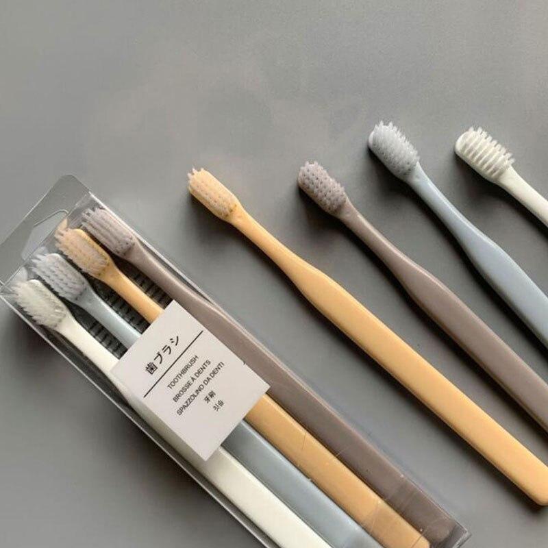 4 pièces/lot multi-couleur doux soies petite tête brosse à dents brosse à dents Portable voyage écologique brosse soins des dents hygiène buccale