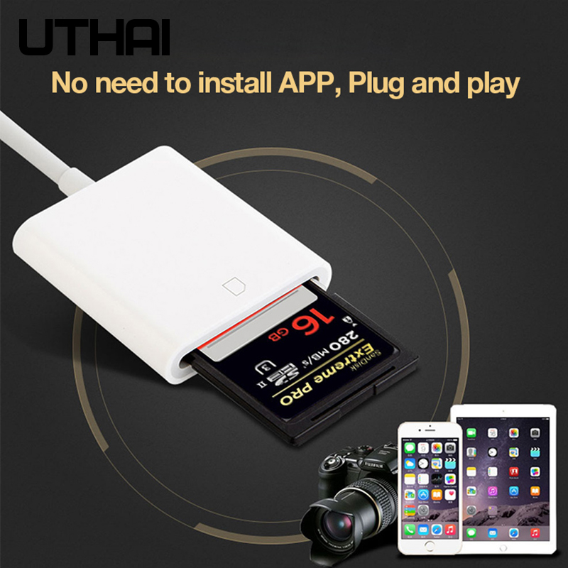 UTHAI C27 Lightning To SD Adapter For SLI Camera SD Memory Card Reader Support IOS13  For IPhone 6 7 8 11 X XR 7 8  Converter