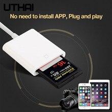 Uthai c27 relâmpago para sd adaptador para sli câmera sd leitor de cartão memória suporte ios13 para iphone 6 7 8 11 x xr 7 8 conversor