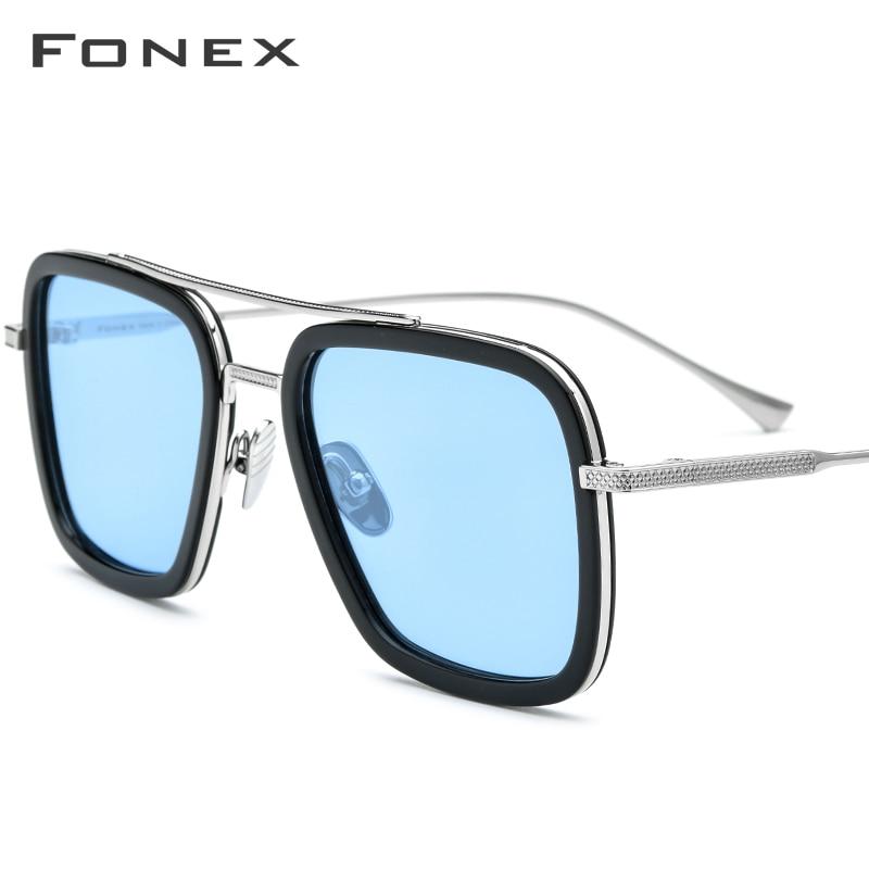 FONEX Pure Titanium Acetate Polarized Sunglass Men Tony Stark Sunglasses High Qualiy Iron Spider Edith Sun Glasses Women 8512