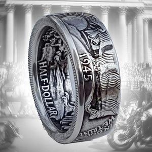 Кольца-монеты, Винтажное кольцо Morgan Half Dollar 1945, вырезанное