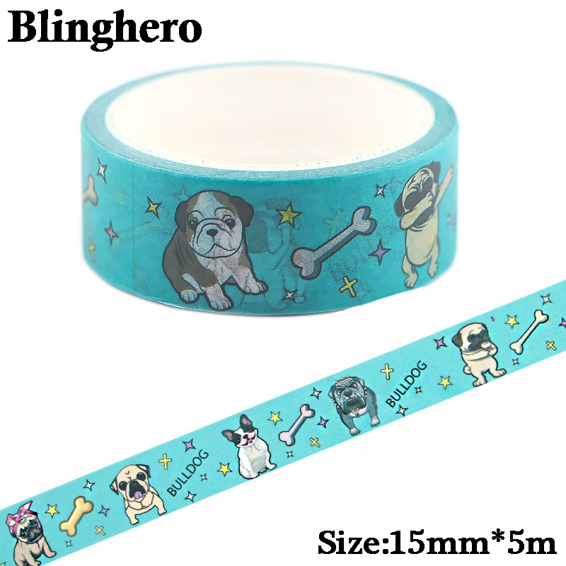CA440 1.5cm X 5m Cute Dog Kawaii Washi Tape Set Japanese Paper Masking Tape Tapes Stickers Decor Stationery Tape Scrapbooking
