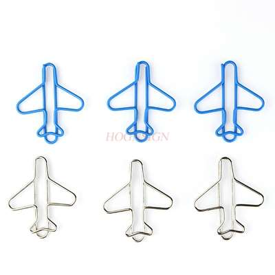 10pcs Airplane Paper Clip Korean Paper Clip Creative Stainless Steel Bookmark Pin Color Paper Clip