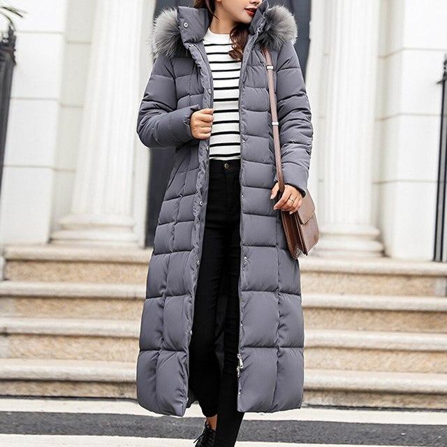 ADISPUTENT New Style Trendy Coat Women Winter Jacket Cotton Padded Warm Maxi Puffer Coat Ladies Long Coats Parka Femme Jackets