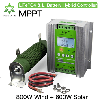 1400W MPPT Wind Solar Hybrid Booster Charge Controller 12V 24V With PWM dump load Compatible with lithium lead-acid battery 20a 12 24v auto work mppt solar charge controller multi function compensation circuit with usb 5v output for lead acid battery
