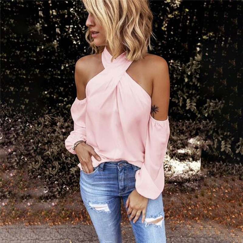 Casual Long Sleeve T Shirts Women Fashion Solid Color Sexy Halter Neck Strapless T-Shirt Female Elegant Top Party Tee Shirts