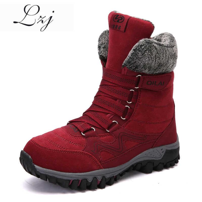LZJ 2019 yeni kadın çizmeler yüksek kaliteli deri süet kışlık bot ayakkabı kadın sıcak tutmak su geçirmez kar botları Botas Mujer 35-42