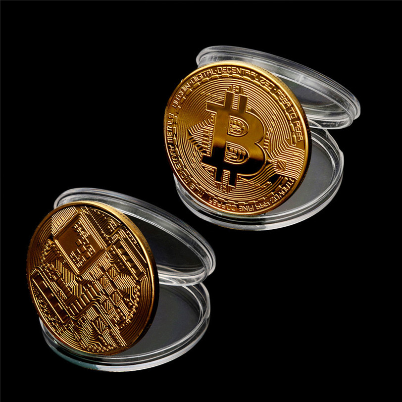Gold Plated Physical Bitcoins Bit Coin BTC With Case Gift Physical Metal Antique Imitation BTC Coin Art Collection-3