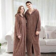 Men Winter Long Hooded Flannel Coral Fleece Ankle Length Sleepwear Lovers Kimono Solid Nightdress Night Wear Dress Gown