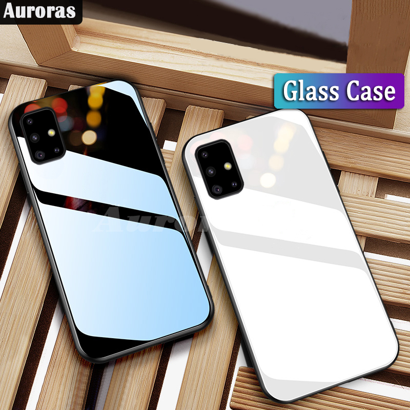 Auroras For Samsung Galaxy A51 Case Tempered Glass Hard Back Cover For Samsugn A71 M30S Case Shockproof Coques M21 A21S A31 A41