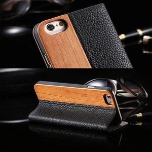Image 2 - Caisse en Bois de bambou Pour iPhone 12 11 Pro 11 12 Mini Étui En Cuir PU Pour iPhone XR X XS Max 7 8 Plus En Bois Housse Sac