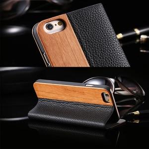 Image 2 - Чехол из бамбукового дерева для iPhone 12, 11 Pro, 11, 12 Mini, чехол кошелек из искусственной кожи для iPhone XR, X, XS, Max, 7, 8 Plus, деревянный чехол книжка