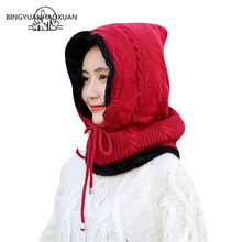 BINGYUANHAOXUAN Winter Men Women Balaclava Scarf Knitted Hat Skullies Beanies Hats For Caps Gorras Bonnet Mask Stocking