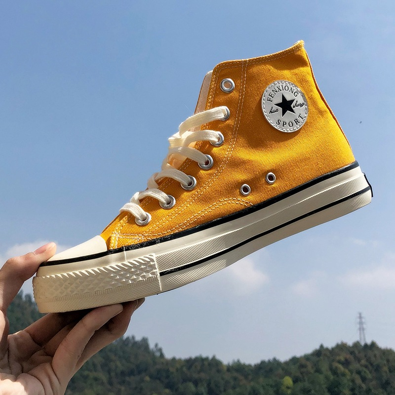 New 1970s Vintage Sneakers Korean-Style Spring Versatile Students High-Top Canvas Shoes Male Couple's Cloth Sneakers