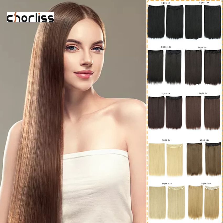 Pre Loop Hair Weaves Invisible Wire No Clip One Piece Halo Hair Extension Flip In False Hair Hairpieces Synthetic Hair For Women