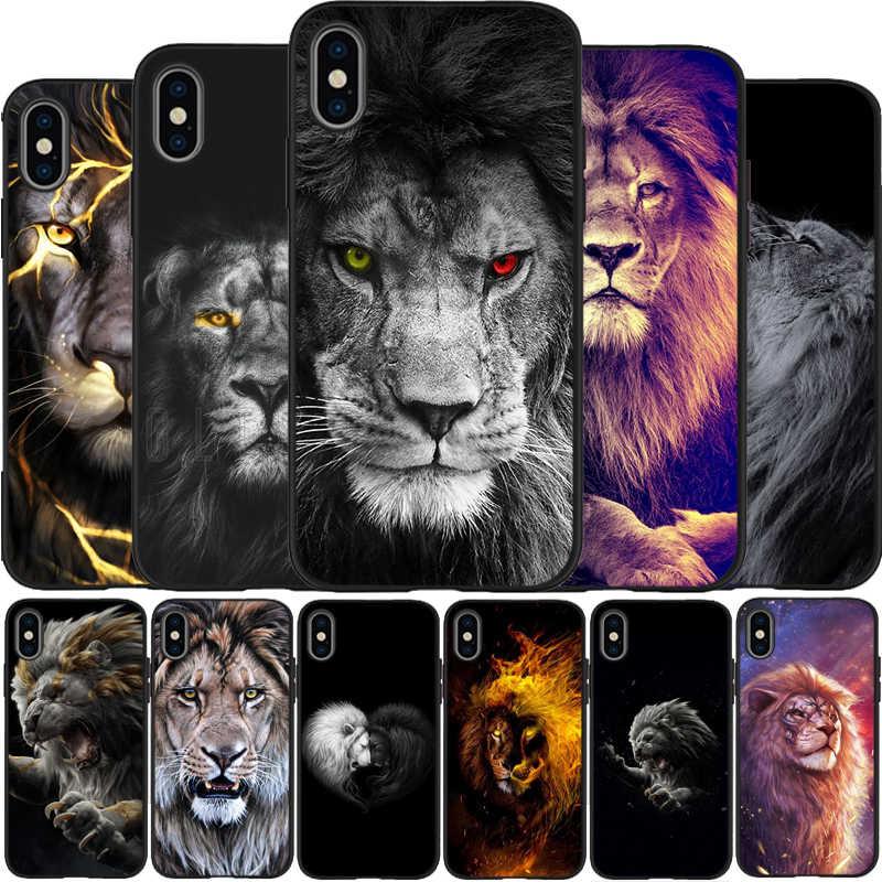 حيوانات الأسد الذكية لينة سيليكون تي بي يو أسود الهاتف حقيبة لهاتف أي فون 5 5s SE 6 6plus 7 8 plus X XS XR XS Max 11 Pro Max