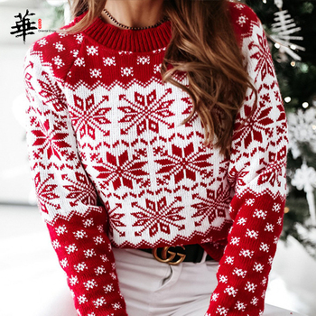 Christmas Knitted Woman Sweaters Pullover Autumn Fall 2020 Women Sweater Long Sleeve Sweater Women Pull Femme Jumper Sueter bow knitted pullovers autumn winter women sweater jumper pullover sleeve long 2020 high elasticity fall sweater women pullover