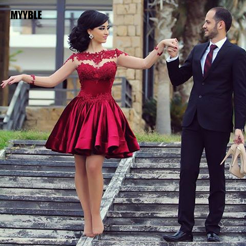 MYYBLE Beautiful A Line See Through Applique Lace Red Short Prom Dress Long Sleeve short Ball gown evening gowns vestidos
