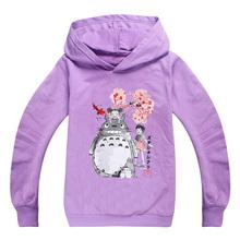 2020 jesień nastoletnia bluza Kawaii Totoro graficzna śliczna bluza z kapturem dziewczyny chłopcy ubrania dla dzieci maluch kreskówkowe topy tanie tanio BIQUINI Moda COTTON Pasuje prawda na wymiar weź swój normalny rozmiar Cartoon REGULAR Unisex Pełna Teenage Sweatshirt