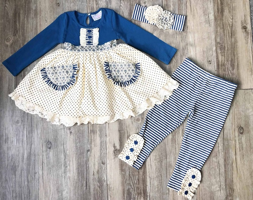 Remake Blue Cute Flowers Pattern Baby Remake Boutique Cotton Girl Clothing Top Match Pants Clothing WITH HEADBAND 2GK908-1426