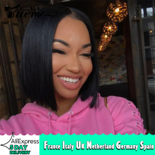 Lace Wigs Short Human-Hair Layered Black Straight Women I-Part Brazilian for Bob Sale