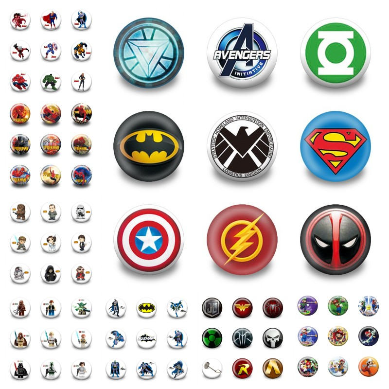 18pcs Marvel Avenger Cartoon Figure Pins Printed Badges Clothes/Bag Accessories Round 3.0cm Brooch Buttons Kids Gift Party Favor(China)