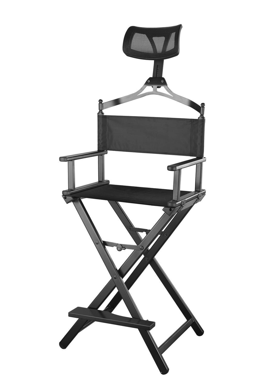 Modern Portable Aluminum Executive Chair With Headrest - Portable Makeup Artist/Manager Folding Chair For Better Rest